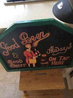 Vintage good beer good cheer timber bar sign