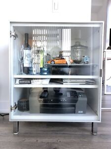 Media TV Cabinet, White, chrome, Glass, BESTA IKEA, MINT
