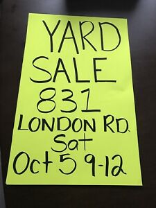 Garage Sale !!  9-12.   831 London Rd (Between Indian and East)