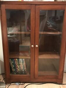 BOOKCASE WITH GLASS DOORS, Solid Wood