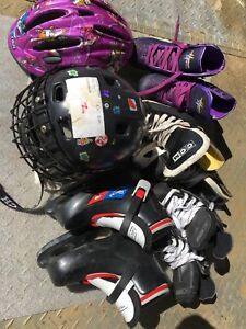 Ice skates one for boys and rest 3 for girls and Helmet