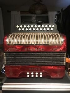 Hohner Erica accordion and hard shell hohner case