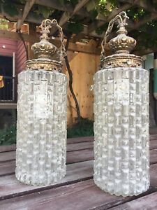 Antique hanging light fixtures set of 2