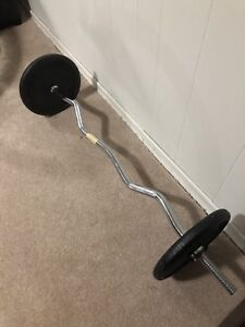 York curling bar and 2 25lbs plates