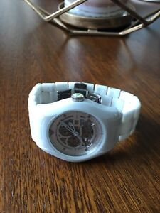 Armani Watch Skeleton Dial White Ceramic