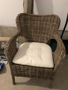 IKEA byholma wicker chair with seat cushion - like new