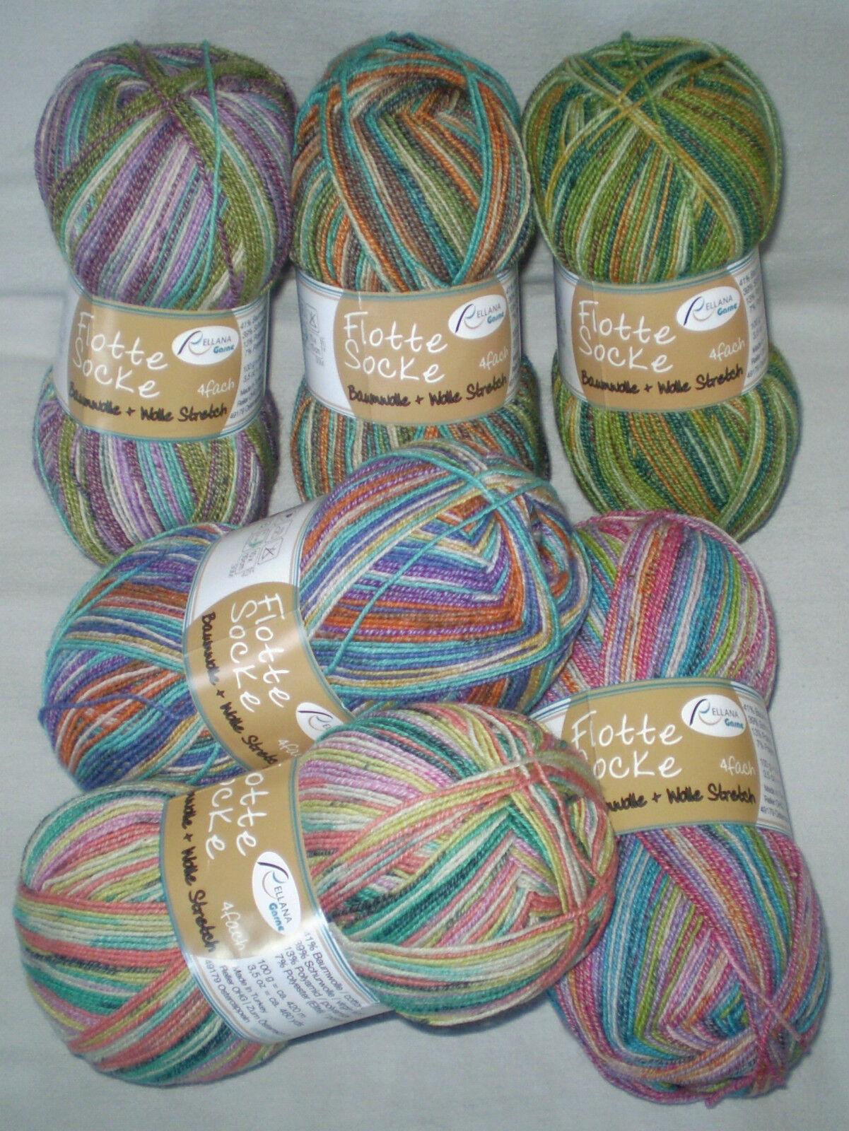 5,45€ / 100 gr RELLANA Sockenwolle 4-fach / 4-fädig  Baumwolle + Wolle Stretch