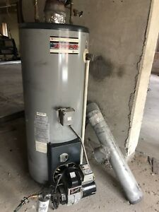 Oil hot water tank with Beckett burner