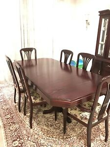 Dining Table Set 6 Chairs Dark Brown Flower Seat Design Decor