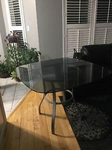 Smoked glass dinette table
