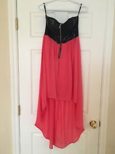 Low high coral dress