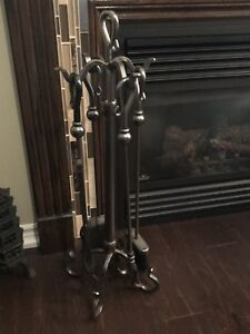 Four piece fire poker set (brushed nickel)