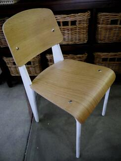 New White Metal Timber Replica Standard Jean Prouve Dining Chairs