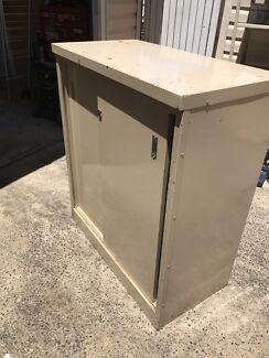 Old industrial Steel locker with sliding door