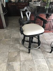 White leather espresso solid wood kitchen chairs