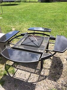 Out door table with fire pit