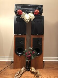 YAMAHA RX-V420 RECEIVER with TOP OF LINE ATHENA TOWER SPEAKERS.