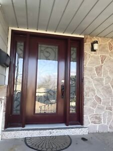 Wrought iron frosted glass door for sale