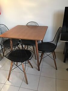 Square dining table walnut & 4 replica wire chairs Prahran Stonnington Area Preview
