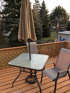 Glass Top Patio Table with Umbrella & 2 Chairs