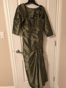 Olive green mother of the bride dress