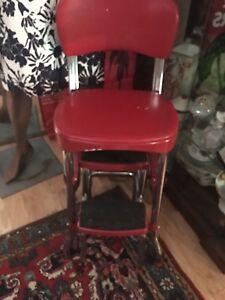Vintage Chair ladder MCM RED