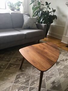 Solid walnut mid century coffee table from Article.com