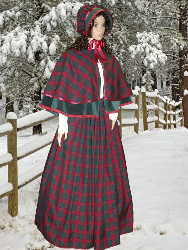 Ladies Victorian Dickensian 3pc tartan  gentry costume - fancy dress. Gr&burg