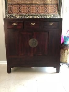 Solid Wood Antique Asian Accent cabinet