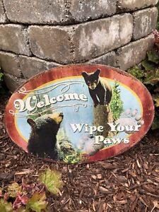 Welcome and Wipe Your Paws Tin Sign
