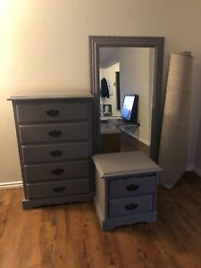 MIRROR, DRESSER, NIGHT-TABLE-SET