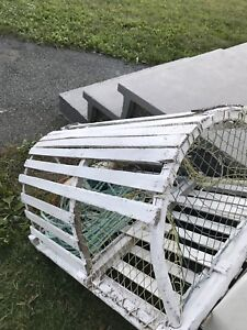 Lobster trap decoration with buoy and rope