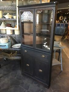 Variety of antique corner cabinets, chins hutches, cupboards