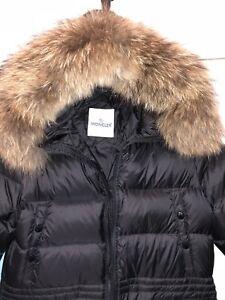 Manteau d'hiver très chaud long medium noir vrai forrure