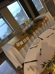 Theee yellow gold sequin table cloths