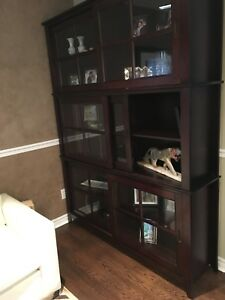 Needs to Go!!!!!      Espresso Wood Glass Cabinet