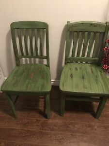 Pair of refinished pub-style solid wood chairs