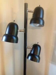 Black Metal Adjustable 3 Light Floor Lamp