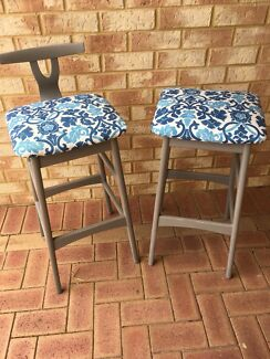 Reupholstered And Chalk Painted Bar Stools