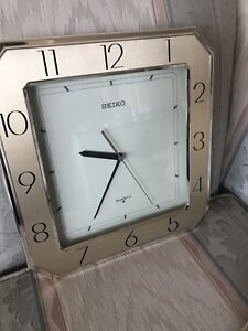 Seiko wall clock - gold and white - made in Japan