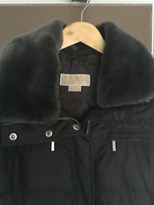 Michael Kors Grey Faux Fur Collar Quilted Down Coat - Size:M