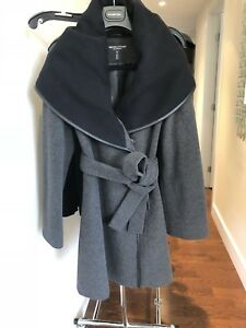 INTERMIX Womens Grey and black wool /cashmere coat