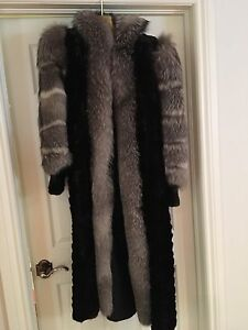 Mink and silver fox fur coat fits sizes 6,8,10