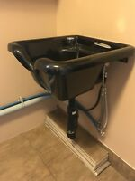 Hair wash sink with reclining chair