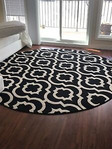 Black and Cream Round Area Rug