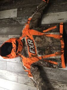 Youth FXR camo snowmobile suit size 8 for sale