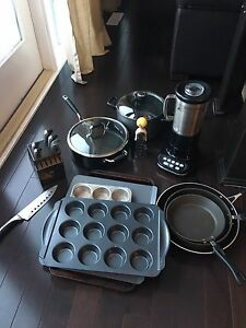 Kitchen Aid Blender, Pots, Pans, Knives and Tools