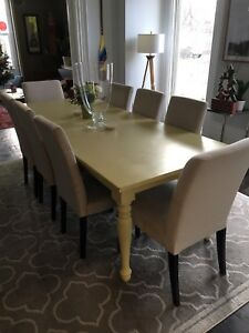 "93""x 36"" Chalk Painted Crate & Barrel Dinning Table"