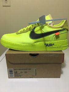 """Nike Off White Air Force 1's """"Volt"""" for sale $520!!! Size 12 DS"""