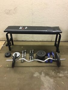 Flat Bench with 70lbs of Weights